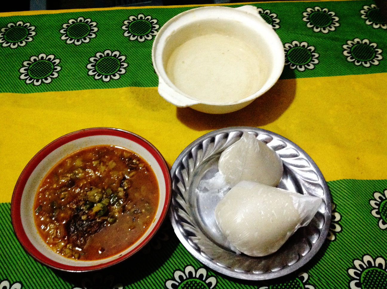 fufu with okro stew